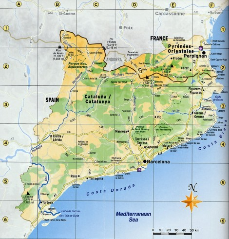 Velká mapa Katalánska